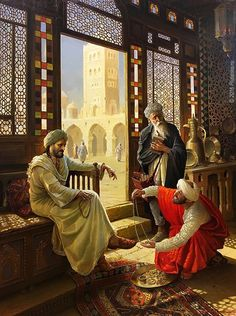 The wise man and the trader. Art Stanislav Plutenko is a modern artist born But this image is a medieval depiction approximately or latest. Art Arabe, Middle Eastern Art, Arabian Art, Islamic Paintings, Old Egypt, Pics Art, Illustration Art, Illustrations, Historical Art