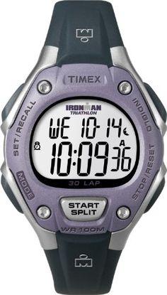 Timex Women`s T5K410 Ironman Traditional 30-Lap Light Purple/Silver-Tone Case Black Resin Strap Watch ♥