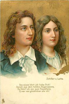 Friedrich Schiller &  Charlotte von Lengefeld Friedrich Von Schiller, Famous Men, Literature, Sketches, History, Authors, Charlotte, German, Movie Posters