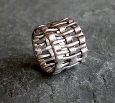 Father's Day Jewelry, Men's Ring, Sterling Silver Unisex Ring, Silver Ring, Recycled Criss Cross , Handmade Jewelry, Unique Men's Ring