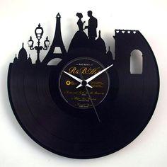 Vinyluse Paris Clock with Pendulum. Pendulum clock made of original-engraved vinyl discs. The label colour at the centre of the disc is random. Vinyl Record Clock, Vinyl Records, Paris Background, Paris Home Decor, Vinyl Art, Discount Toms, Discount Handbags, Retro, Picture Frames