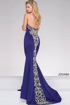 Sweetheart neckline fitted fully lined long jersey dress with crystal embellishments cascading down the bodice and back features a sweep train Fitted Prom Dresses, Jovani Dresses, Formal Dresses, Sweetheart Prom Dress, Evening Dresses, Fashion Dresses, Neckline, Bodice, Military Ball