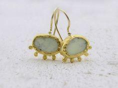 Lemon Jade Earrings - 24k Solid Gold Earrings - Lemon Jade & Gold Earrings