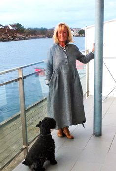 Lesley Duff, wearing her Shirt Dress by the beach.