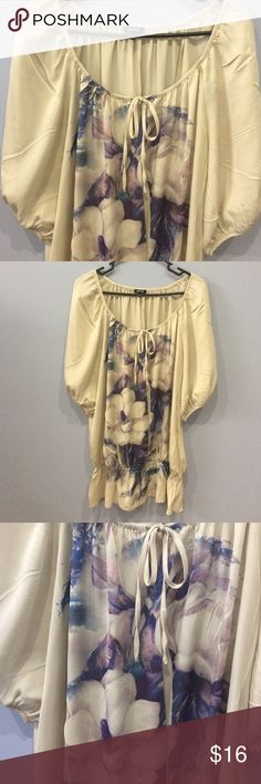 Flowered Pheasant Top Tan blue and purple flowered Pheasant Top. Lightweight with silky feeling. 100% polyester. By Apt 9 size XL Apt. 9 Tops Blouses