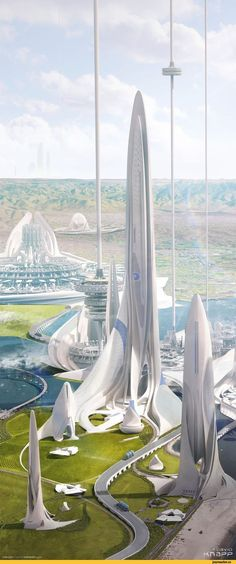 """Dark Energy Plant, Coronado Island - David Knapp""""In a Utopian future, dark energy is utilized as a clean energy source. After being harvested in space, it is transported down to the surface of the earth via massive space elevators where it is then. Futuristic City, Futuristic Design, Futuristic Architecture, Amazing Architecture, Architecture Design, Houston Architecture, Chinese Architecture, Architecture Office, Landscape Architecture"""
