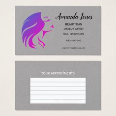 Purple Grey Beautician Appointment Business Cards Custom Office Party #office #partyplanning