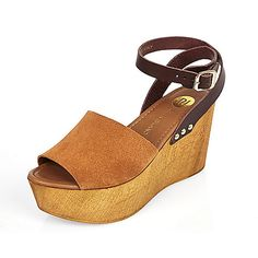 Brown leather wedge heel sandals - heeled sandals - shoes / boots - women