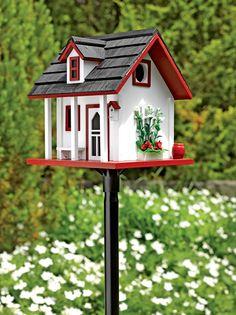 Garden Cottage Birdhouse - Home Decor Bird Houses Painted, Bird Houses Diy, Fairy Houses, Homemade Bird Houses, Bird House Feeder, Bird Feeders, Garden Cottage, Garden Supplies, House Painting
