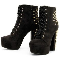 Danii Black Stud Platform Shoe Boot-8 ($29) ❤ liked on Polyvore featuring shoes, boots, ankle booties, heels, black, platform booties, black boots, studded booties, heel boots and black platform ankle booties