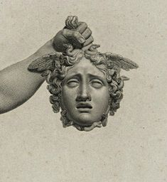 Detail : Perseus with the Head of Medusa. engraving after Antonio Canova. Medusa Kunst, Medusa Art, Medusa Head, Tattoo Drawings, Art Drawings, Sculpture Art, Sculptures, Greek Statues, Arte Obscura