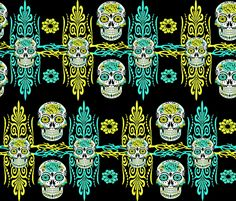 SUGAR SKULLS DAMASK fabric by bluevelvet on Spoonflower - custom fabric