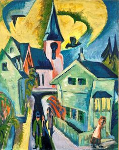 Ernst Ludwig Kirchner (1880–1938): Königstein con chiesa rossa. Olio su tela - anno 1916. #arte #espressionismo