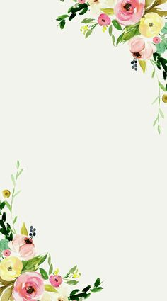 Floral on white background wallpaper. Flower Background Wallpaper, Flower Backgrounds, Wallpaper Backgrounds, Iphone Wallpaper, Watercolor Flowers, Watercolor Art, Watercolor Floral Wallpaper, Floral Border, Flower Frame