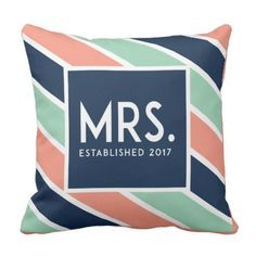 #bride - #Modern Engaged Mrs. Pillow // Salmon Blue Teal