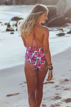 871684d1d53a9 ISADORA Aqua Rose Swimsuit - High-neck swimsuit with self feed through  ties. http