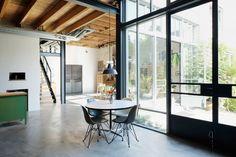 Houben & Van Mierlo Architecten transformed two potato barns into contemporary residences in Amsterdam Noord. Loft Style Homes, Style Loft, Living Room Upholstery, Furniture Upholstery, Paint Upholstery, Upholstery Repair, Upholstery Cleaning, Modern Loft, Mid-century Modern