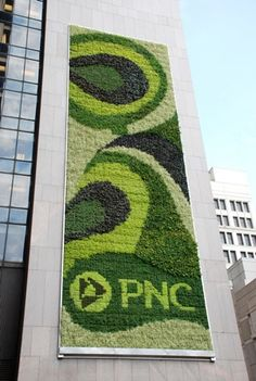 The largest living green wall in North America currently hanging on the exterior of their Pittsburgh headquarters building located at One PNC Plaza.
