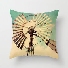 Decorative Pillow Cover Windmill Vintage Aqua Turquoise Cream Country Rustic Farmhouse Cottage Decor Custom Photo Pillow Case Home Bedroom via Etsy