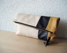 Leather Clutch in Italian Leather and Beige Linen - Indie Patchwork Series. $59.00, via Etsy.