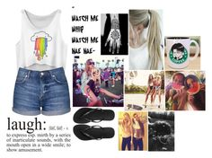 """Me at the fun fair"" by mattiebrogan ❤ liked on Polyvore featuring Topshop, Havaianas, Levi's and WALL"