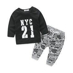 247a0973beac 1 2 3 Years Baby Boys Clothes 2017 New Casual Cotton Kids Suits Letter  Printed Baby Clothing Set Long Sleeve Shirts Pants. Trendy Squirrel