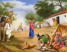 Village Scene - People Posters (Reprint on Paper - Unframed) Art Village, Village Scene Drawing, Village Photos, Indian Village, Scenary Paintings, Landscape Paintings, Rajasthani Painting, Composition Painting, Village Photography