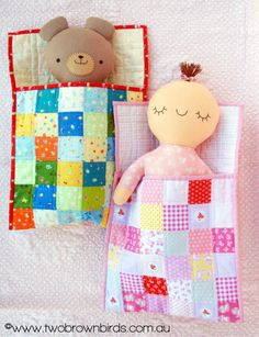 Ok one more for now then I'm going to do some real work. This pattern is 'Goodnight Baby Goodnight Bear' by the baby & bear… Doll Sewing Patterns, Sewing Dolls, Goodnight Bear, Fun Crafts, Crafts For Kids, Baby Doll Accessories, Brown Bird, Fabric Toys, Cat Doll
