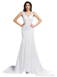 Sheath Court Train Beaded V-Neck Chiffon Wedding Dresses http://www.ikmdresses.com/Sheath-Court-Train-Beaded-V-Neck-Chiffon-Wedding-Dresses-p90244