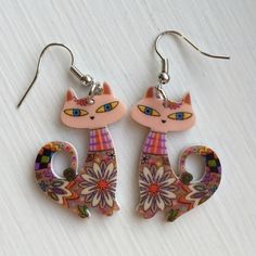 Cute! Cats Acrylic Drop Earrings Multicolor New Cute! Cats Acrylic Drop Earrings Multicolor These adorable eye catching earrings are the perfect accessory to add a little pizazz and fun to any outfit! Jewelry Earrings