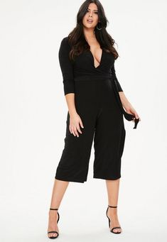 604381a36d6 Curve Black Slinky Wrap Jumpsuit Wrap Jumpsuit