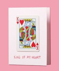 Turn an incomplete deck into a DIY Valentines Day card with a marker and a bit of glue. So sweet- King of my heart.