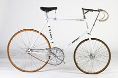 Francesco Moser's Stayer bicycle. Massive chainring, tiny front wheel, rear swept fork and extreme forward positioned bars allow the rider to pull in tight behind the motor pacer to ride in the slipstream.