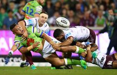 Josh Papalii of the Raiders offloads during the round eight NRL match between the Canberra Raiders and the Manly Sea Eagles at GIO Stadium on April 21, 2017 in Canberra, Australia.