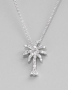 Great for wearing on vacation or just for fun this necklace has 15 roberto coin diamond 18k white gold palm tree necklace saks aloadofball Images