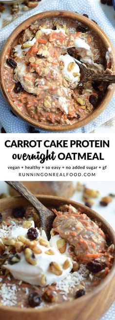 These delicious, healthy and nourishing carrot cake overnight oats take just minutes to prep with simple ingredients, they're high in plant-based protein and they taste incredible! Serve with a dollop of coconut whipped cream or your favourite dairy-free yogurt. Or add extra toppings like pineapple and walnuts! Vegan, GF. Recipe: http://runningonrealfood.com/carrot-cake-overnight-protein-oats/