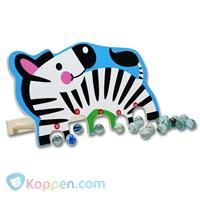 Knikkerspel zebra, hout incl. knikkers -  Koppen.com