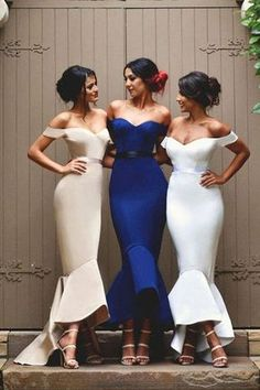 32fdaf6c29ad Mermaid Satin Off-the-Shoulder Prom Dresses