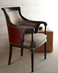 """Farron"" Plaid & Leather #Chair by Key City Furniture at #Horchow."