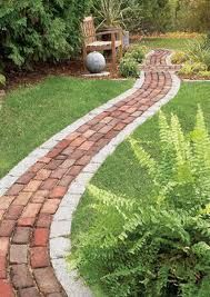 Brick path lined with pavers