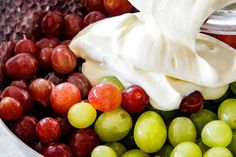 Creamy Grape Salad with Vanilla Yogurt Dressing – Famous Last Words Fruit Salad With Marshmallows, Fruit Salad With Yogurt, Dressing For Fruit Salad, Grape Salad, Yogurt Scones Recipe, Blueberry Yogurt Muffins, Greek Yogurt Pancakes, Homemade Yogurt Recipes, Vanilla Recipes