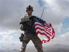 American Soldier with American Flag