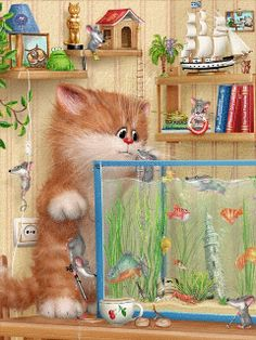 Cat and fish tank gif Kitten Cartoon, Cute Cartoon, Gifs, Crazy Cat Lady, Crazy Cats, Animals And Pets, Cute Animals, Image Chat, Matou
