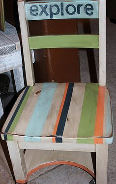 fun chair redo - striped & whitewashed