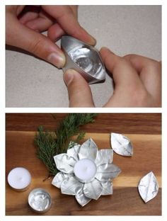 Metal Art Projects, Metal Crafts, Recycled Crafts, Diy Candle Holders, Diy Candles, Diy Home Crafts, Decor Crafts, Aluminum Foil Crafts, Metal Flower Wall Art