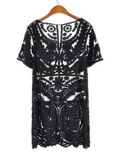 Black Short Sleeve Embroidery Sheer Lace Dress - Sheinside.com