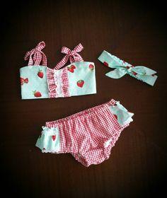 Infant Bikini / Toddler Bikini / Cotton Bikini / Baby Swimsuit / Sunsuit / Strawberries / Red Gingham by TippyToesandTangles on Etsy