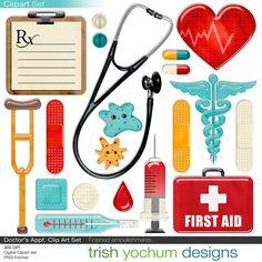 Doctor Clipart Medical Digital Clip Art by TrishYochumDesigns Colegio Ideas, Medical Symbols, Medical Clip Art, Copics, Photoshop Elements, Happy Planner, Word Art, Planner Stickers, Digital Scrapbooking