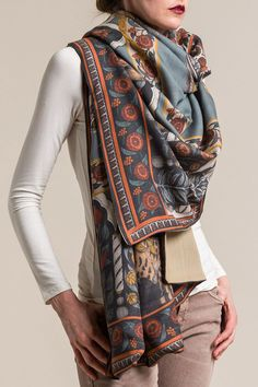 Sabina Savage Cashmere Backed Tipu's Hound Scarf in Coal/Cumin Casual Clothes, Casual Outfits, Winter 2017, Fall Winter, Santa Fe Dry Goods, Scarf Ideas, Contemporary Fabric, Autumn Outfits, Scarf Design