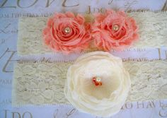 Peaches and Cream Garter Set by BloomsandBlessings on Etsy, $20.00
